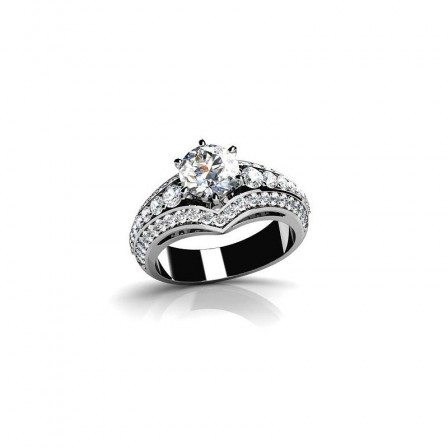 Charming Classic Inlaid Cz S925 Sterling Silver Engagement Ring/Promise Ring