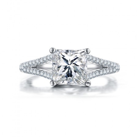 1.6Ct Princess Inlaid Cz S925 Sterling Silver Engagement Ring/Promise Ring