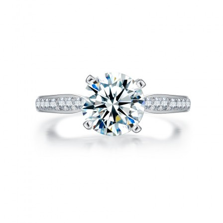 2Ct Round Cz Inlaid S925 Sterling Silver Engagement Ring/Promise Ring