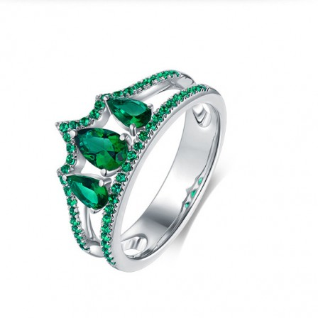 Crown Emerald Inlaid Cz S925 Sterling Silver Engagement Ring/Promise Ring
