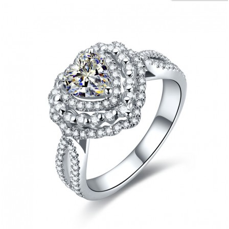 Heart-Shaped Luxury Inlaid Cz S925 Sterling Silver Engagement Ring/Promise Ring