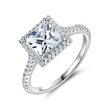 Pure Silver Ring 925 Square Aaa Zircon 7Mm Silver Ornaments