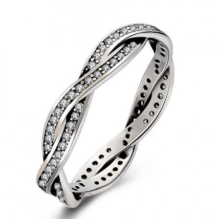 New Korean Fashion Woven S925 Sterling Silver Cut Diamond Ring