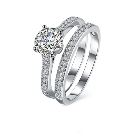 Natural Color Diamond S925 Sterling Silver Double Ring Engagement Ring Set