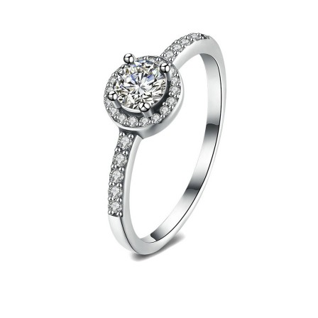 S925 Sterling Silver Ring Fashion Round Diamond Ring