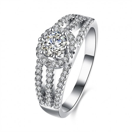 Hot S925 Sterling Silver Ring Micro Inlaid Diamond Ring
