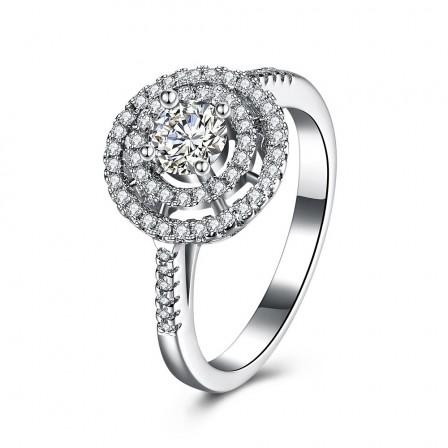 Stylish S925 Sterling Silver Ring Micro-Setting Round Zircon Ring