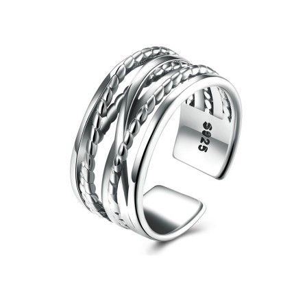 S925 Sterling Silver Open Ring Women Fashion Simple Cross Braided Wide Engagement Ring