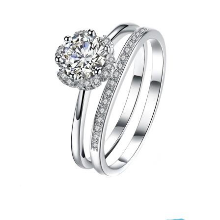 Lovers Ring Korean Fashion Rose Diamond Ring S925 Silver