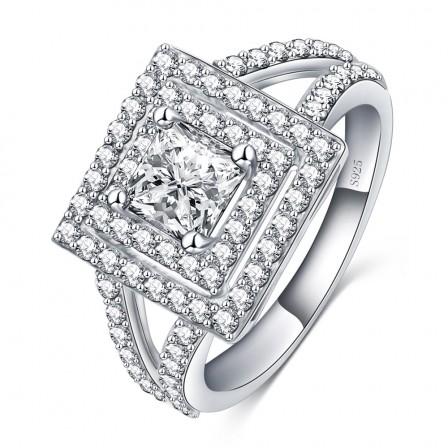 925 Silver Ring Inlay Aaa Zircon Ring