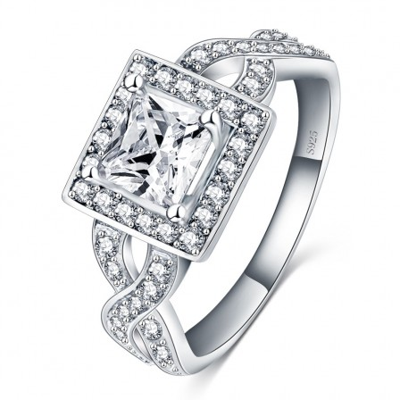 Fashion Cross Inlaid Hearts And Arrows Zircon Engagement Ring