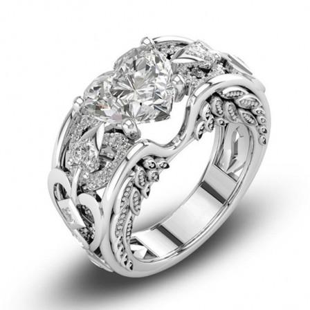 Princess Ring Heart-Shaped Birthday Stone Engagement Ring European WoMen's Jewelry