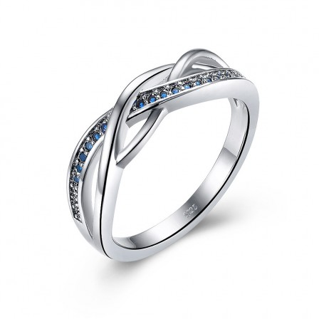 S925 Sterling Silver Ring Female Blue Wavy Zircon Engagement Ring