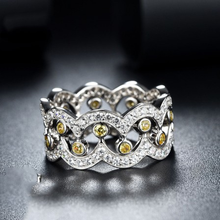 Forefinger Ring 925 Silver Ring Ladies Crown Double Rings