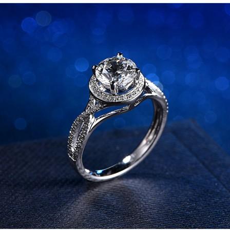 Diamond Engagement Ring 1 Carat 925 Silver Plated 18K Platinum