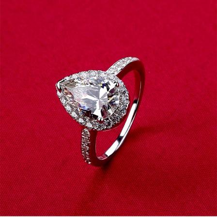 Drop Zircon Silver Ring Female One-Carat Plating Platinum Engagement Ring