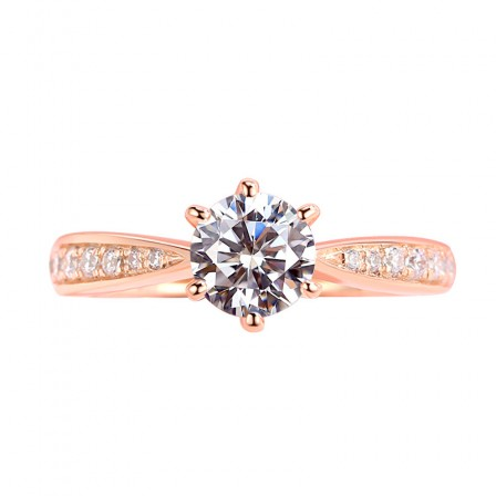 Six-Claw Simulation Diamond Ring Silver Plated 18K Rose Gold Wedding Ring