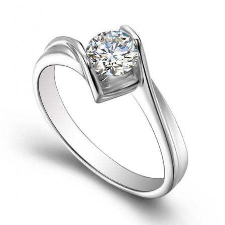 Round Cut Cz 925 Silver Ring Female Opening Ring Wedding
