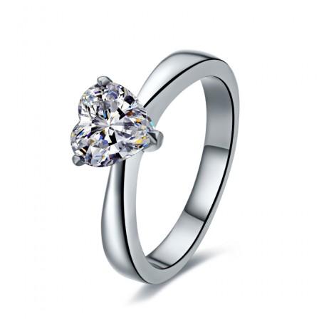 Simple Heart Diamond Ring Silver 1.0CT 2.0CT Cut Diamond Ring