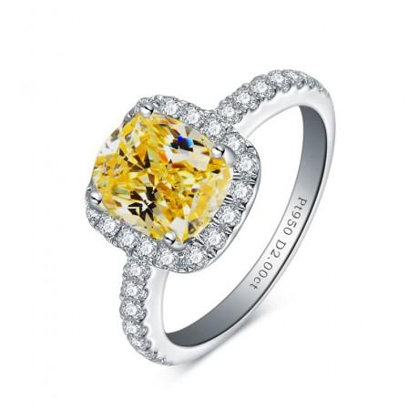 Extravagant Pillow Type Diamond Ring Sterling Silver 2 Carat White Yellow Diamond Wedding Ring