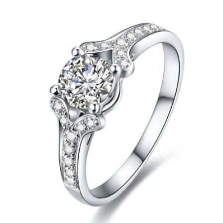 High Carbon Diamond Ring Double V Fish Mouth Shaped Ring Female 1 Carat