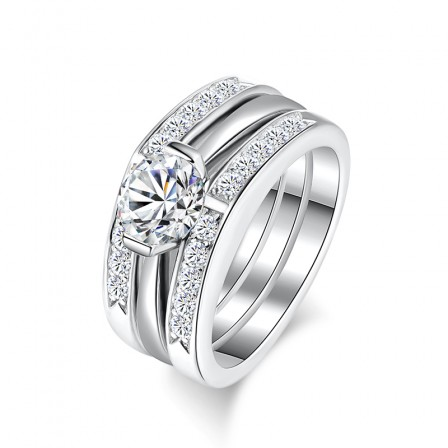 White Sapphire Sterling Silver Engagement Ring