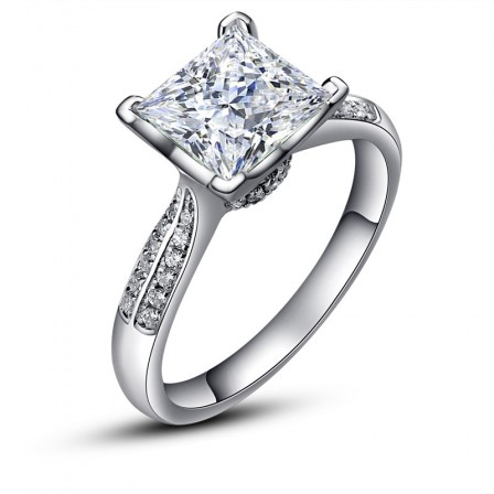 Fashion 1 Carat Princess Square Diamond Cut Diamond Ring