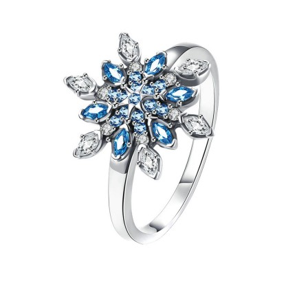 S925 Sterling Silver Ring Colorful Snowflake Diamond Zircon Ring