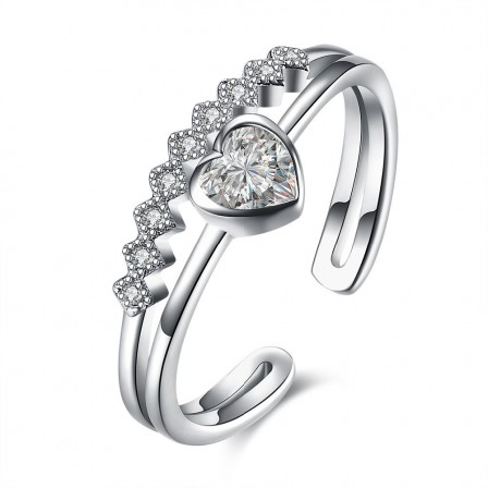 S925 Sterling Silver Open Ring Hot Diamond Heart-Shaped Ring