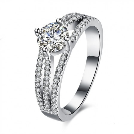 Fashionable Four-Claw Micro-Zircon Ring Sterling Silver Open Ring
