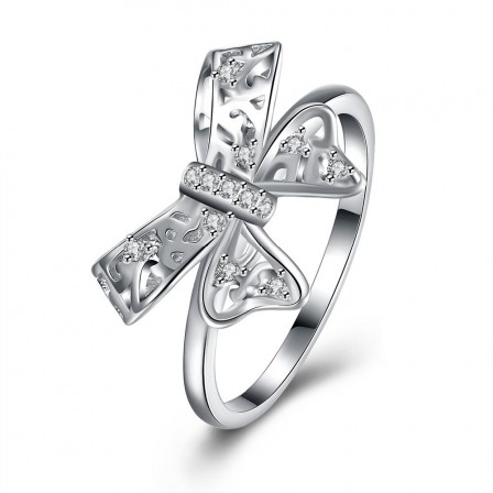 S925 Sterling Silver Ring Popular Cute Bow Diamond Ring