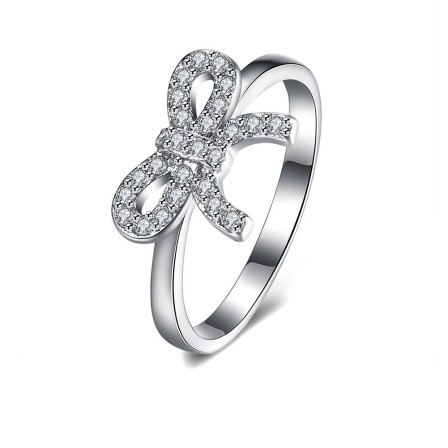 S925 Sterling Silver Ring Hot Cute Bow Diamond Ring