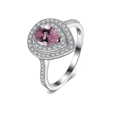 Creative Drops Pink Diamond Silver Engagement Ring/Promise Ring