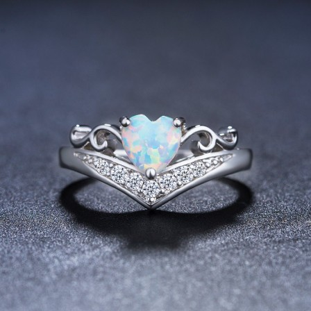 Heart-Shaped Opal Inlaid Zircon Engagement Ring/Promise Ring