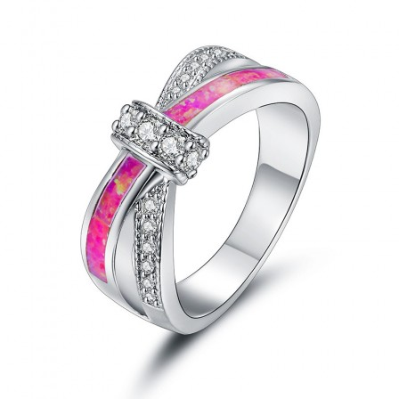 Fashion Pink Fire Opal Engagement Ring