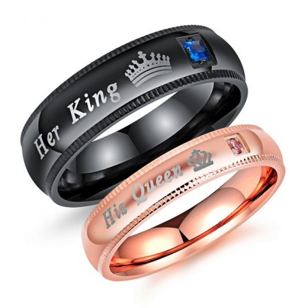 Her King His Queen Titanium Ring Couple Ring Hot Black & Rose Gold