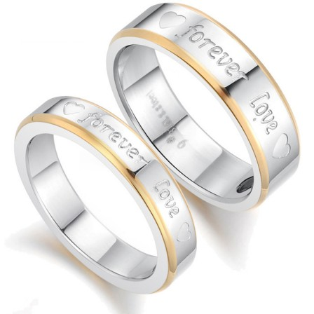 New Fashion Jewelry Gold Rimmed Forever Love Titanium Lovers Ring