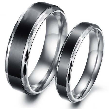 Simple Retro Lovers Ring Black Personality Titanium Ring