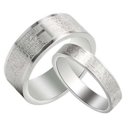 Spanish Bible Prayer Titanium Lovers Ring With A Cross