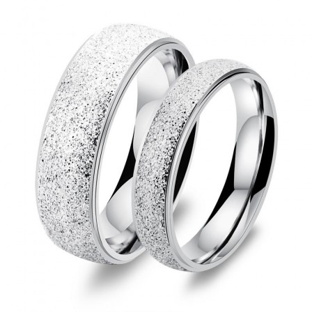 Simple Style Frosted Titanium Ring Lovers Ring