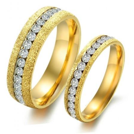 Single Row Rhinestone Frosted Golden Couple Rings Titanium Valentine Gift