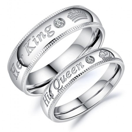 Her King & His Queen Titanium Ring Crown Couple