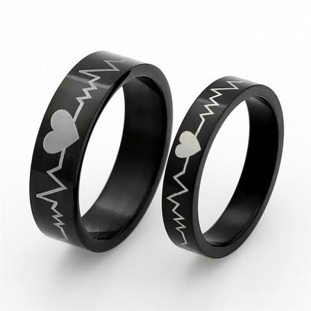 Ecg Titanium Steel Couple Rings Valentine'S Day Gift