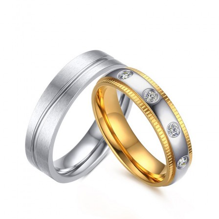 3A Zircon Titanium Steel Couple Romantic Rings Valentine'S Day Present