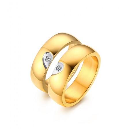 Design 3A Zircon Titanium Steel Couple Rings Valentine'S Day Present