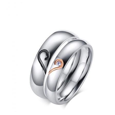 3A Zircon Titanium Steel Exquisite Couple Rings Valentine'S Day Present