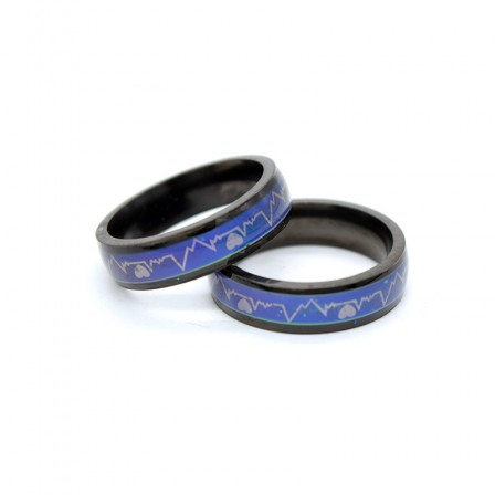 Awesome Titanium Heartbeat Lovers Rings