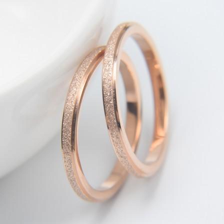 Titanium Matte Rose Gold Lovers Rings