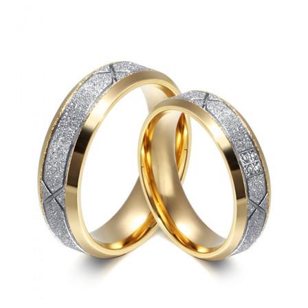 Fabulous Titanium Golden Matte Lovers Rings