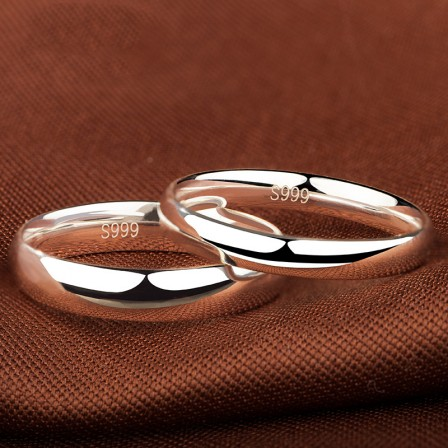 Perfect Valentine'S Day Present Simple Surface Sterling Silver Couple Rings